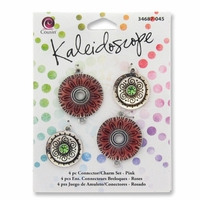 Kaleidoscope Charm and Link 4pc Set - Charms Pink