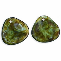 Czech Rose Petals 14/13mm Milky Peridot-Picasso Glass Beads (25PK)