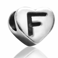 7mm Heart Letter F Bead