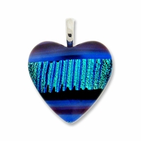 Dichroic Glass 25mm Blue Fire Heart Pendant (1PC)