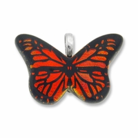 Dichroic Glass 38mm Orange Fire Butterfly Pendant (1PC)