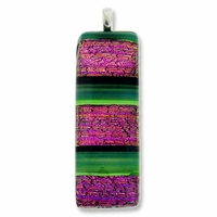 Dichroic Glass 41mm Pink Fire Rectangle Pendant (1PC)