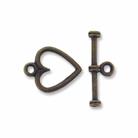 Antiqued Brass 13mm Heart Toggle Clasps (10PK)