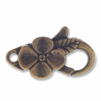 Antiqued Brass 26mm Flower Oval Lobster Clasps (5PK)