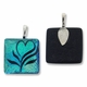 Dichroic Glass Blue Green 26mm Square Pendant with Bail (1PC)