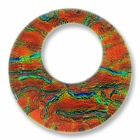 Dichroic Glass Orange 35mm Donut Pendant (1PC)