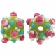 13mm Lime w/Pink & White Dots Design Round Lampwork Beads (5PK)