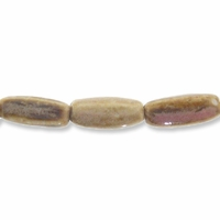 Porcelain Beads, pink and brown, 19x8mm 4-sided fluted oval  (8 inch strand)