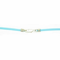 16 Inch Turquoise 2mm Rubber Necklace w/ Sterling Silver Clasp