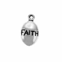 Shiny Faith Drop Sterling Silver Charm