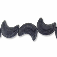 Porcelain Beads, dark grey, 35x28mm-38x33mm textured puffed crescent  (8 inch strand)