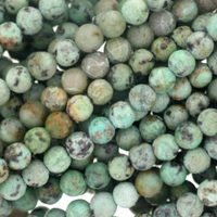 African Turquoise 4mm Round Beads 16 inch Strand