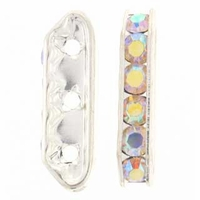 Crystal AB Rhinestone Bridge 21x6mm Silver (1PC)