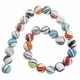 Multi Color 14mm Opague Swirl Lampwork Beads 16-Inch Strand