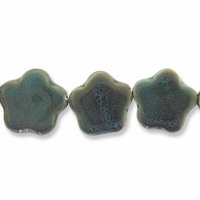 Porcelain Beads, honey and dark aqua, 31-33mm puffed flower  (8 inch strand)