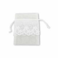 3x4 Inch White Sheer Organza Embroidered Bag