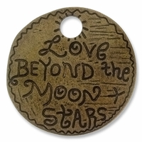 Antiqued Brass 38mm Love Beyond Pendant (1PC)