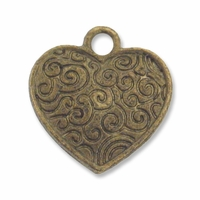 Antiqued Brass 15mm Scroll Heart Charm (10PK)