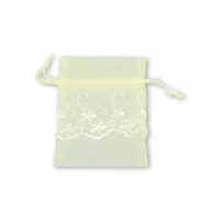 3x4 Inch Ivory Sheer Organza Embroidered Bag