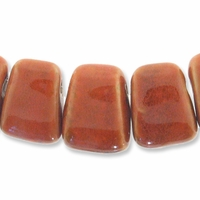 Porcelain Beads, orange, 27x21mm-29x22mm top-drilled puffed trapezoid  (8 inch strand)
