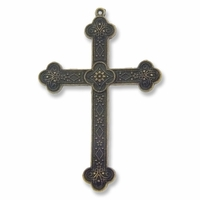 Antiqued Brass 80mm Cross Pendant