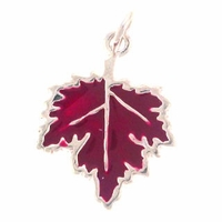 Enamel Maple Leaf Sterling Silver Charm