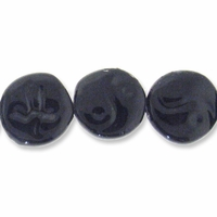 Porcelain Beads, black, 25-26mm textured flat round with yin-yang design  (8 inch strand)