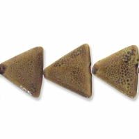 Porcelain Beads, golden yellow, 26x26x26mm-27x27x27mm puffed triangle  (8 inch strand)