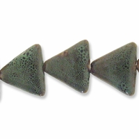 Porcelain Beads, light honey and pale green, 26x26x26mm-27x27x27mm puffed triangle  (8 inch strand)