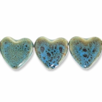 Porcelain Beads, honey and dark aqua, 28x26mm-29x27mm top-drilled flat heart  (8 inch strand)
