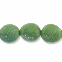 Porcelain Beads, medium green, 27-28mm carved twisted puffed flat round  (8 inch strand)