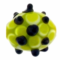 13mm Lime w/Black Dots Design Oval Lampwork Beads (5PK)