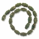 Porcelain Beads, light honey and pale green, 20x12mm-22x18mm carved round tube  (15 inch strand)