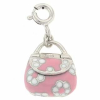 Enameled Pink and White Handbag Sterling Silver Charm