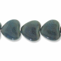 Porcelain Beads, honey and dark aqua, 31x29mm-34x30mm puffed heart  (8 inch strand)