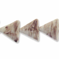 Porcelain Beads, marbled honey and white, 26x26x26mm-27x27x27mm puffed triangle  (8 inch strand)