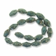 Porcelain Beads, honey and dark aqua, 20x12mm-21x13mm textured oval  (15 inch strand)