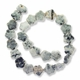 Porcelain Beads, marbled white and dark grey, 18x17mm-19x19mm carved puffed flower  (15 inch strand)