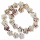 Porcelain Beads, marbled honey and white, 18x17mm-19x19mm carved puffed flower  (15 inch strand)