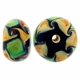 14mm Black Green and Beige Swirl Rondel Lampwork Beads (5PK)
