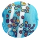 20mm Blue White and Beige Design Disc Lampwork Beads (5PK)