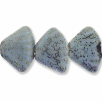 Porcelain Beads, light blue and dark green, 23x17mm fan with 2.5-3mm hole. (10PK)
