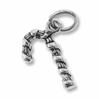 Sterling Silver Candy Cane Charm 16 x 10mm