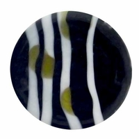18mm Black White and Olive Design Disc Lampwork Beads (5PK)