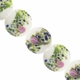 20mm White with Floral  Design Disc Lampwork Beads (5PK)