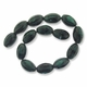 Porcelain Beads, green and black, 28x18mm corrugated oval. (16 inch strand)