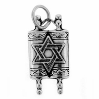 Star of David Torah Sterling Silver Charm
