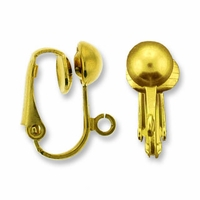Gold Plated Earclip Ball with Loop (1 Pair)