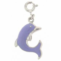 Enameled Purple Dolphin Sterling Silver Charm