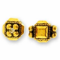 Antique Gold Deco Cube Bead